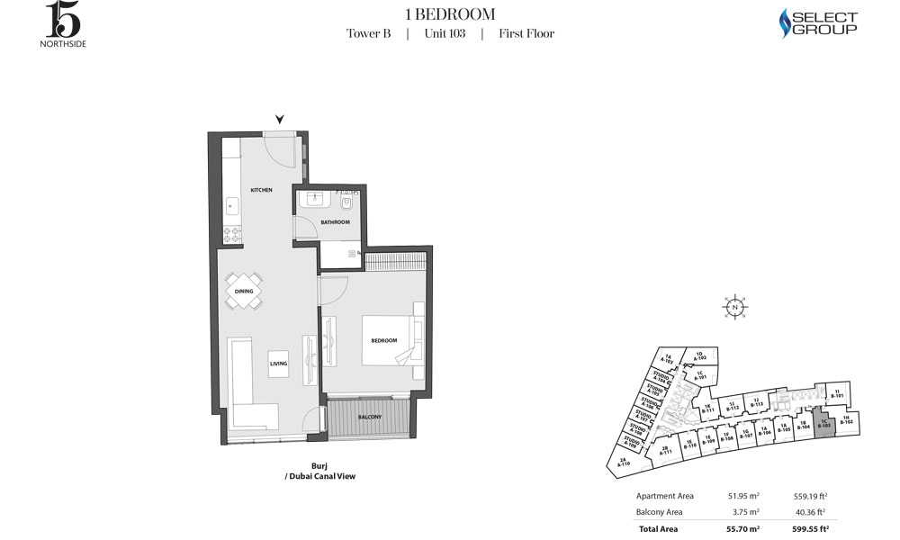 Tower B, 1 Bedroom, Unit 103, First Floor