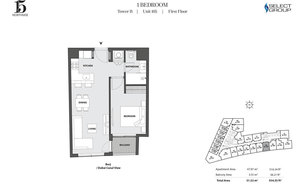 Tower B, 1 Bedroom, Unit 105, First Floor