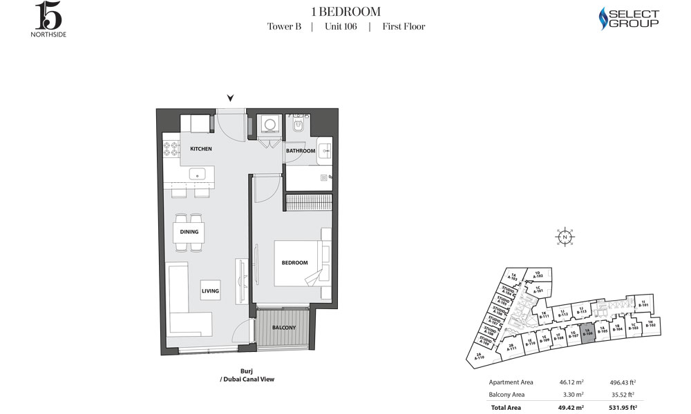 Tower B, 1 Bedroom, Unit 106, First Floor