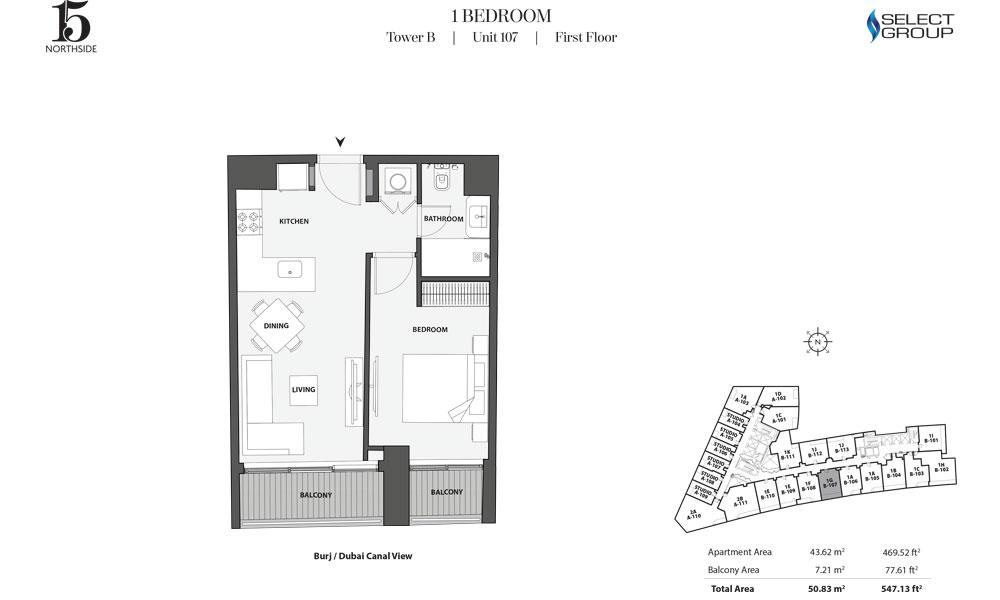 Tower B, 1 Bedroom, Unit 107, First Floor
