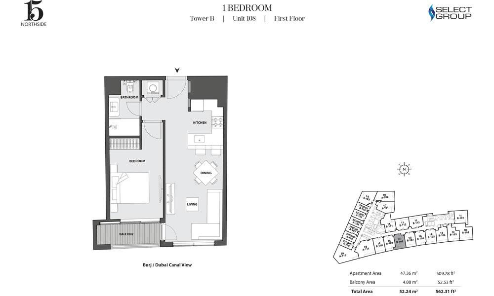 Tower B, 1 Bedroom, Unit 108, First Floor