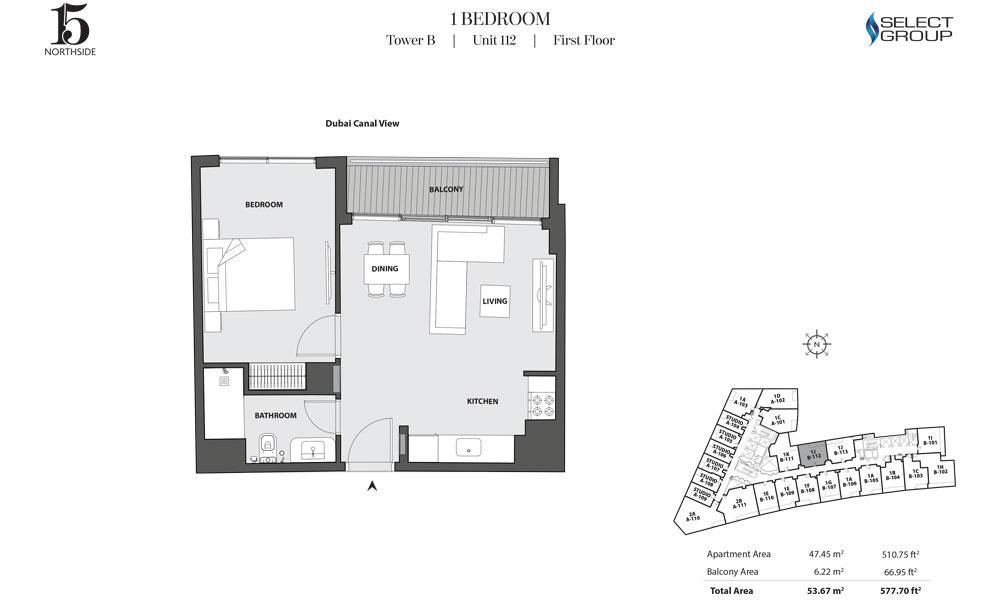 Tower B, 1 Bedroom, Unit 112, First Floor