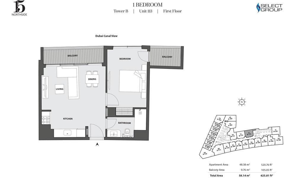 Tower B, 1 Bedroom, Unit 113, First Floor