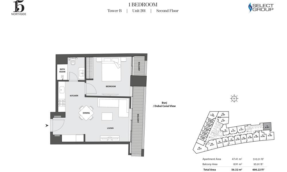 Tower B, 1 Bedroom, Unit 201, Second Floor