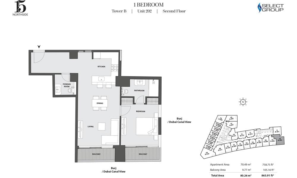 Tower B, 1 Bedroom, Unit 202, Second Floor