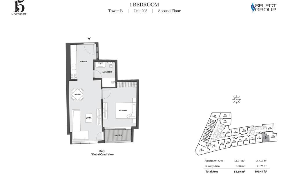 Tower B, 1 Bedroom, Unit 203, Second Floor