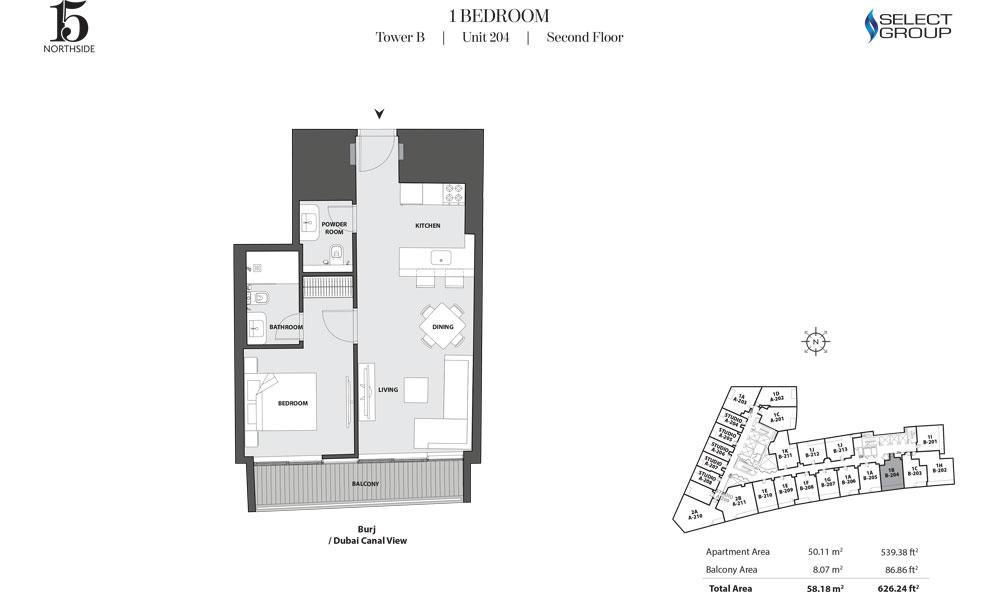 Tower B, 1 Bedroom, Unit 204, Second Floor