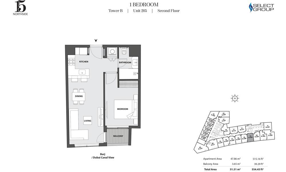 Tower B, 1 Bedroom, Unit 205, Second Floor