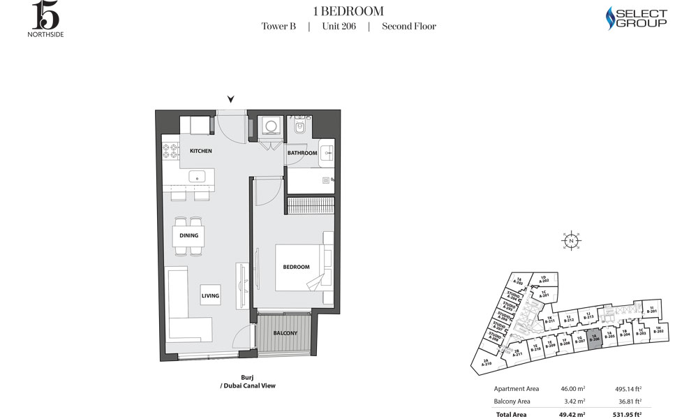 Tower B, 1 Bedroom, Unit 206, Second Floor