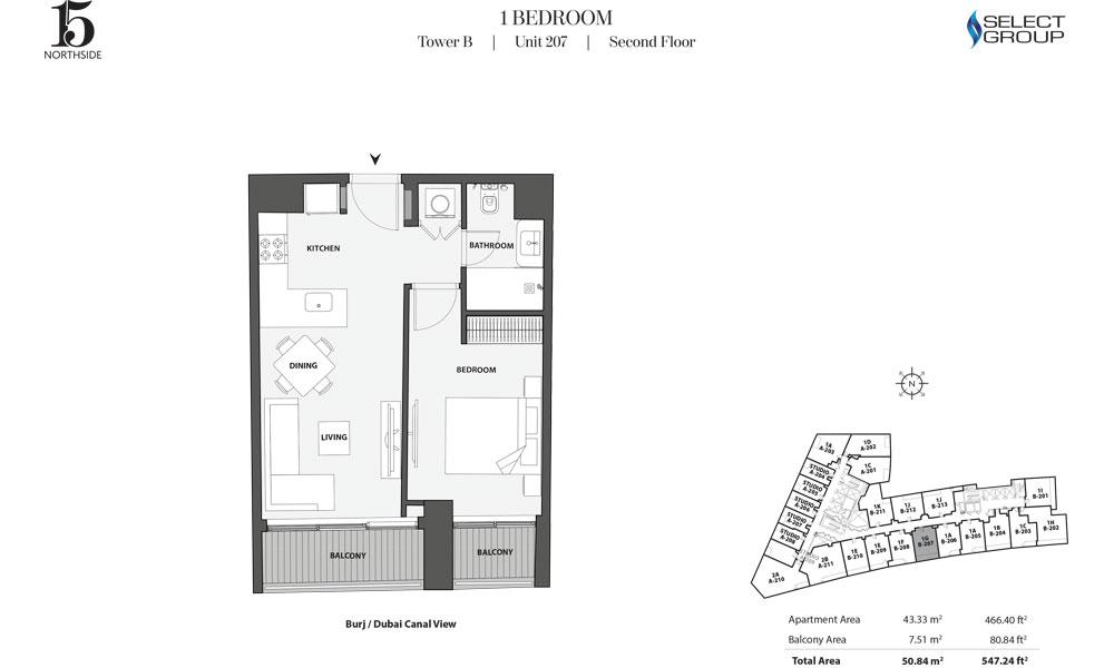 Tower B, 1 Bedroom, Unit 207, Second Floor