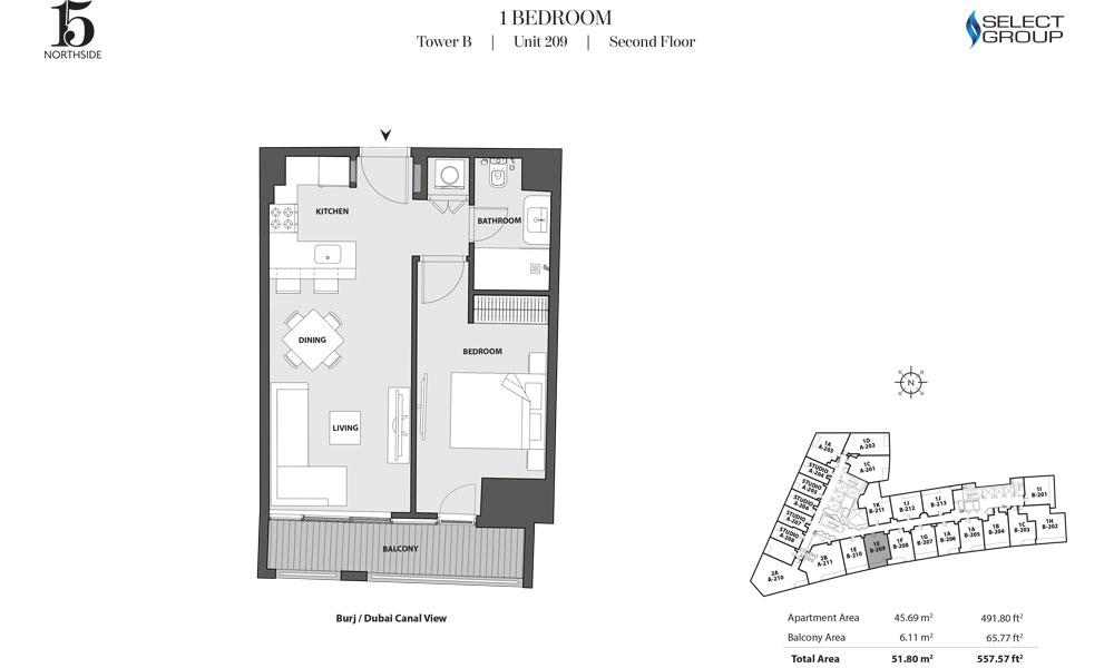 Tower B, 1 Bedroom, Unit 209, Second Floor