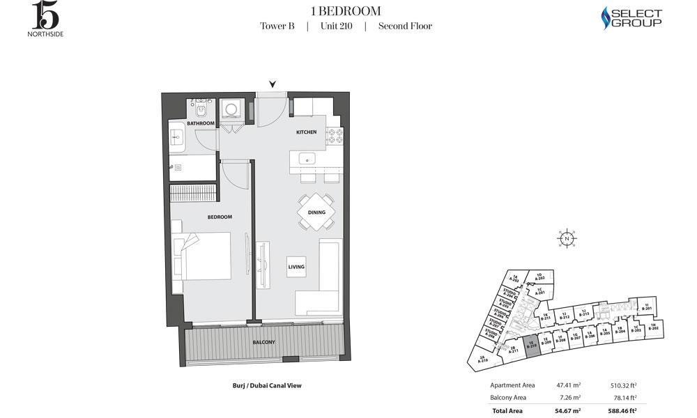 Tower B, 1 Bedroom, Unit 210, Second Floor