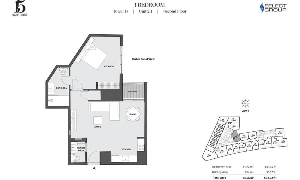 Tower B, 1 Bedroom, Unit 211, Second Floor