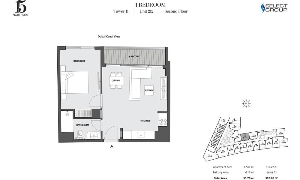 Tower B, 1 Bedroom, Unit 212, Second Floor