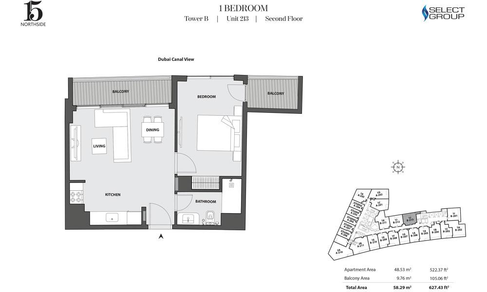 Tower B, 1 Bedroom, Unit 213, Second Floor