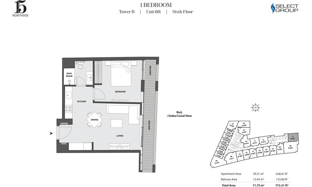 Tower B, 1 Bedroom, Unit 601, Sixth Floor