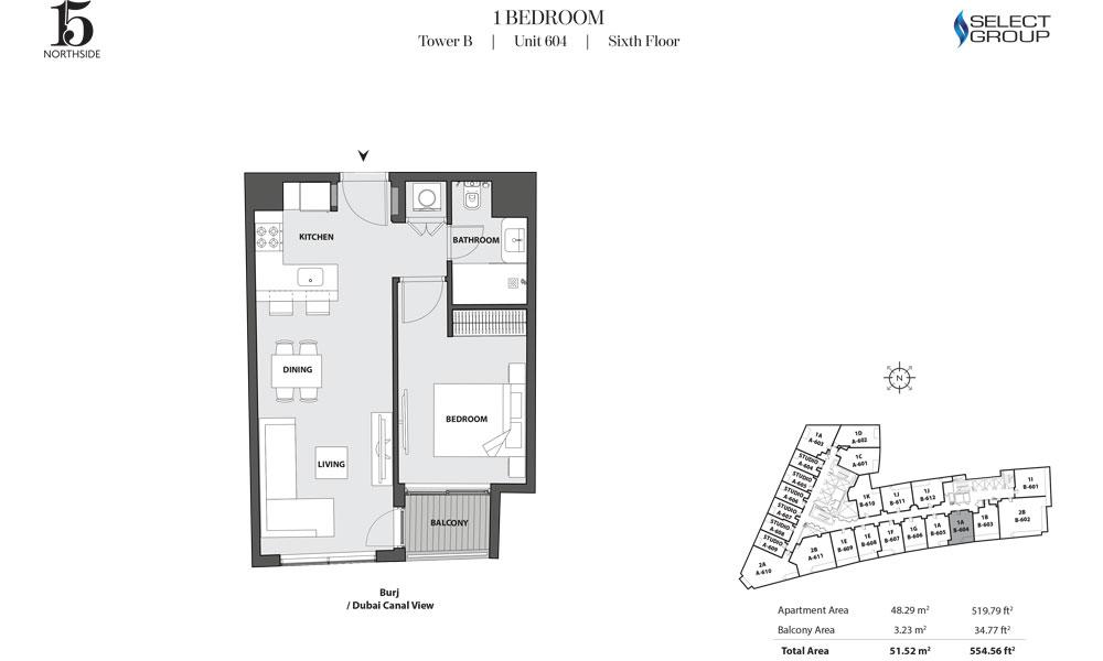 Tower B, 1 Bedroom, Unit 604, Sixth Floor