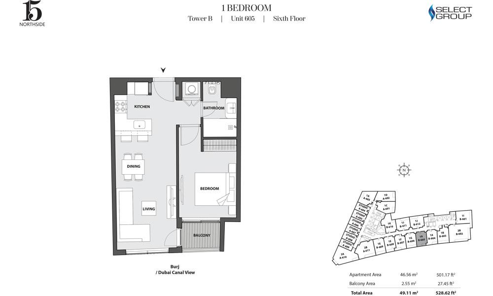 Tower B, 1 Bedroom, Unit 605, Sixth Floor
