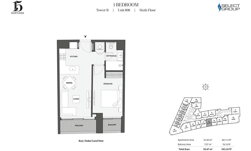 Tower B, 1 Bedroom, Unit 606, Sixth Floor