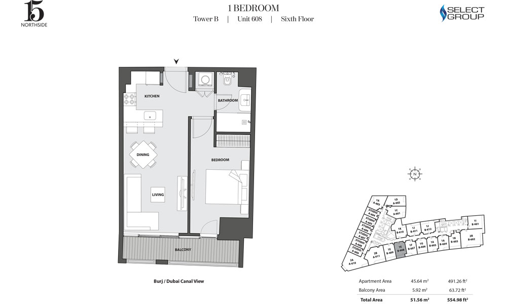 Tower B, 1 Bedroom, Unit 608, Sixth Floor