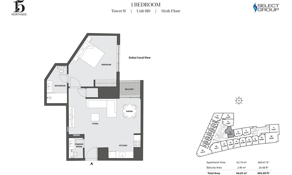 Tower B, 1 Bedroom, Unit 610, Sixth Floor