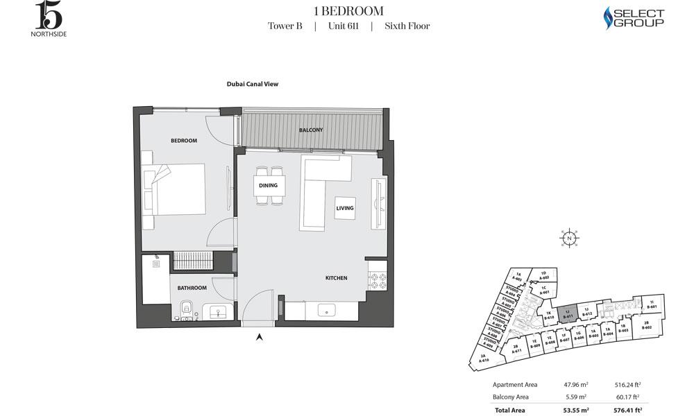 Tower B, 1 Bedroom, Unit 611, Sixth Floor