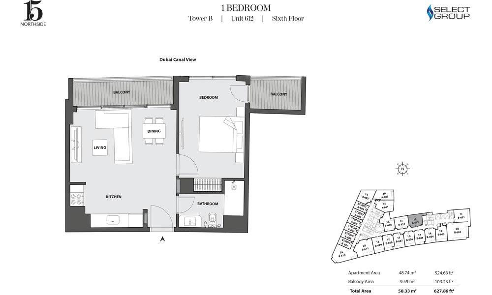 Tower B, 1 Bedroom, Unit 612, Sixth Floor