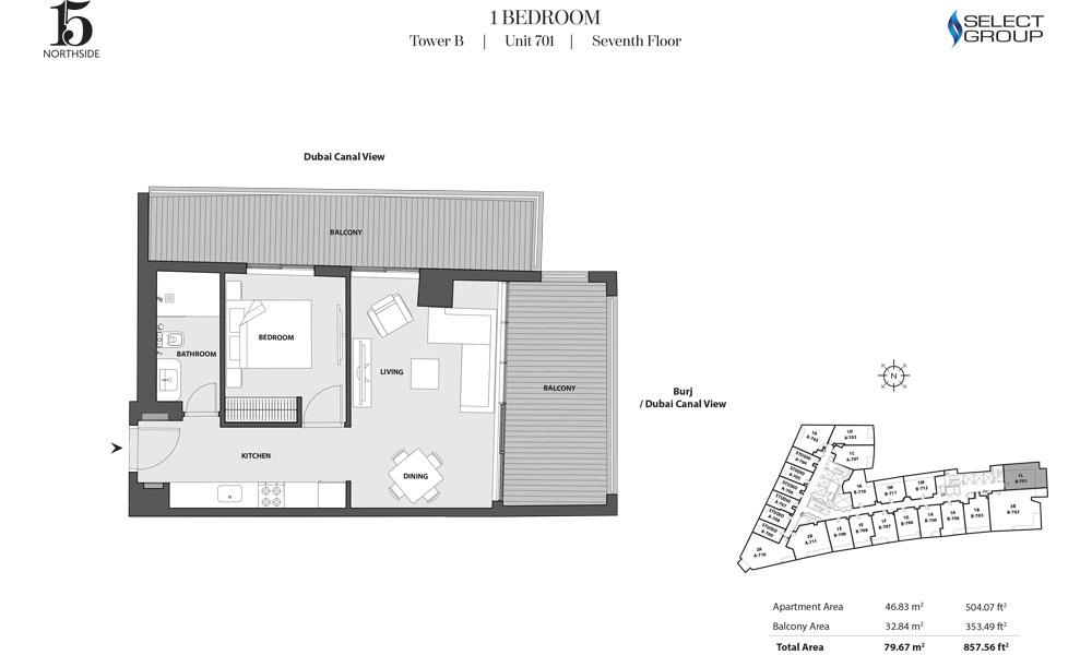 Tower B, 1 Bedroom, Unit 701, Seventh Floor
