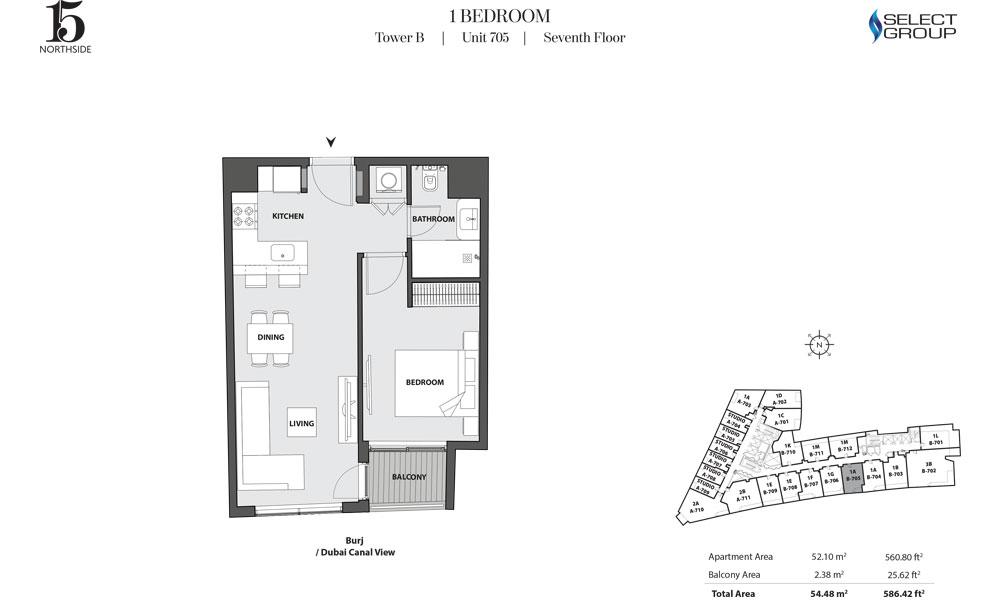 Tower B, 1 Bedroom, Unit 705, Seventh Floor