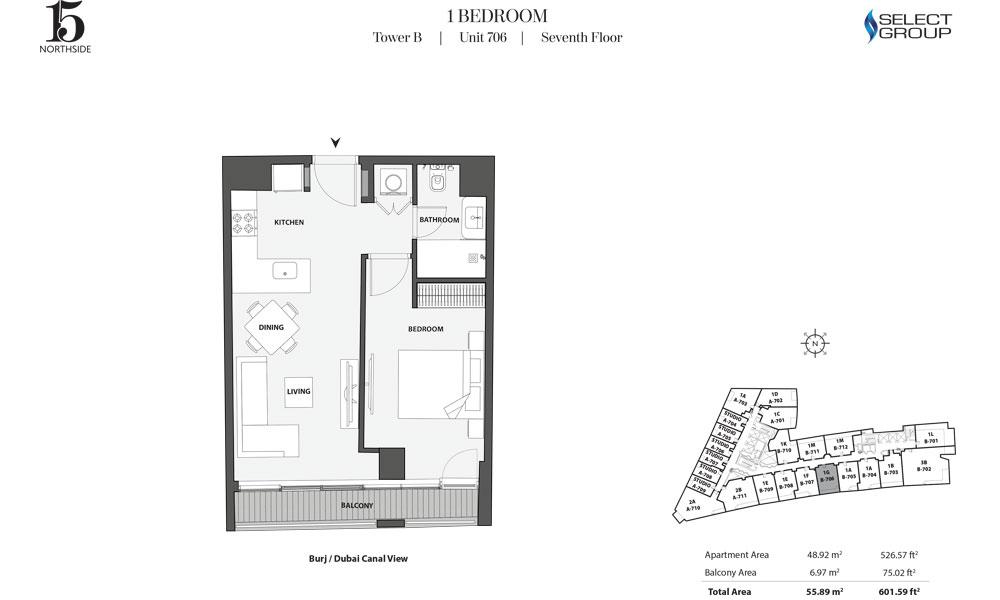 Tower B, 1 Bedroom, Unit 706, Seventh Floor