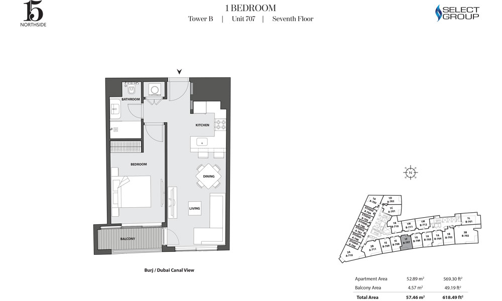 Tower B, 1 Bedroom, Unit 707, Seventh Floor