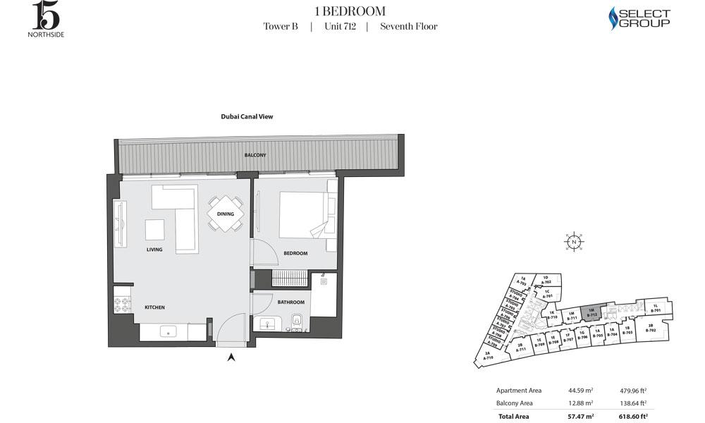 Tower B, 1 Bedroom, Unit 712, Seventh Floor