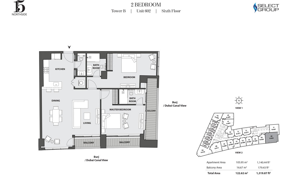 Tower B, 2 Bedroom, Unit 602, Sixth Floor