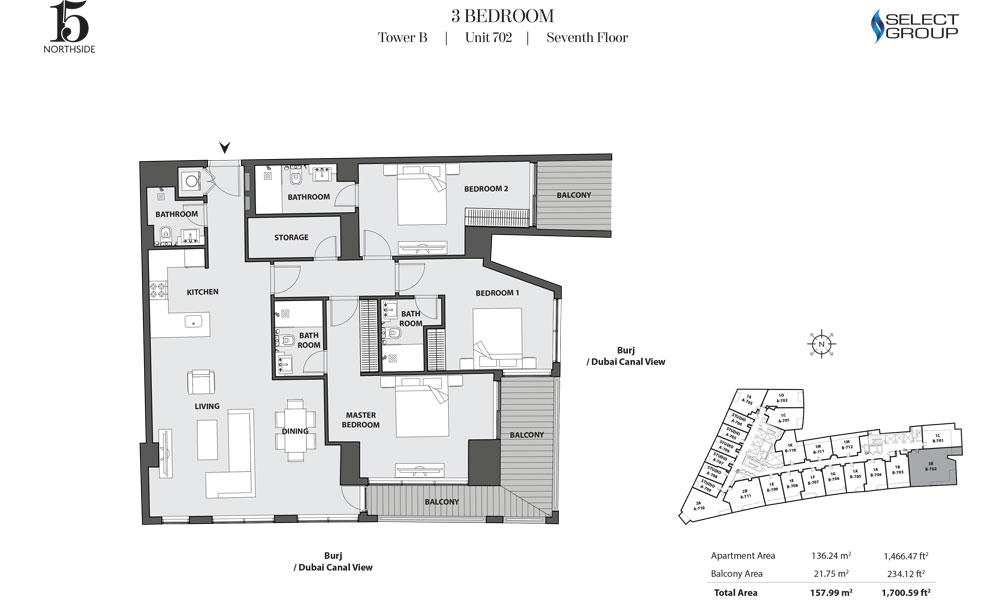 Tower B, 3 Bedroom, Unit 702, Seventh Floor