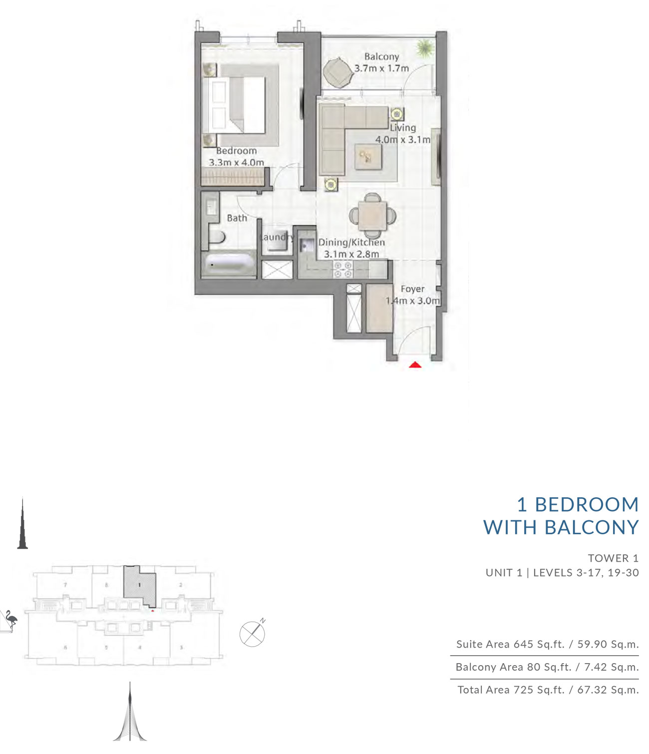 Floor-Plan-1BR T1 U1