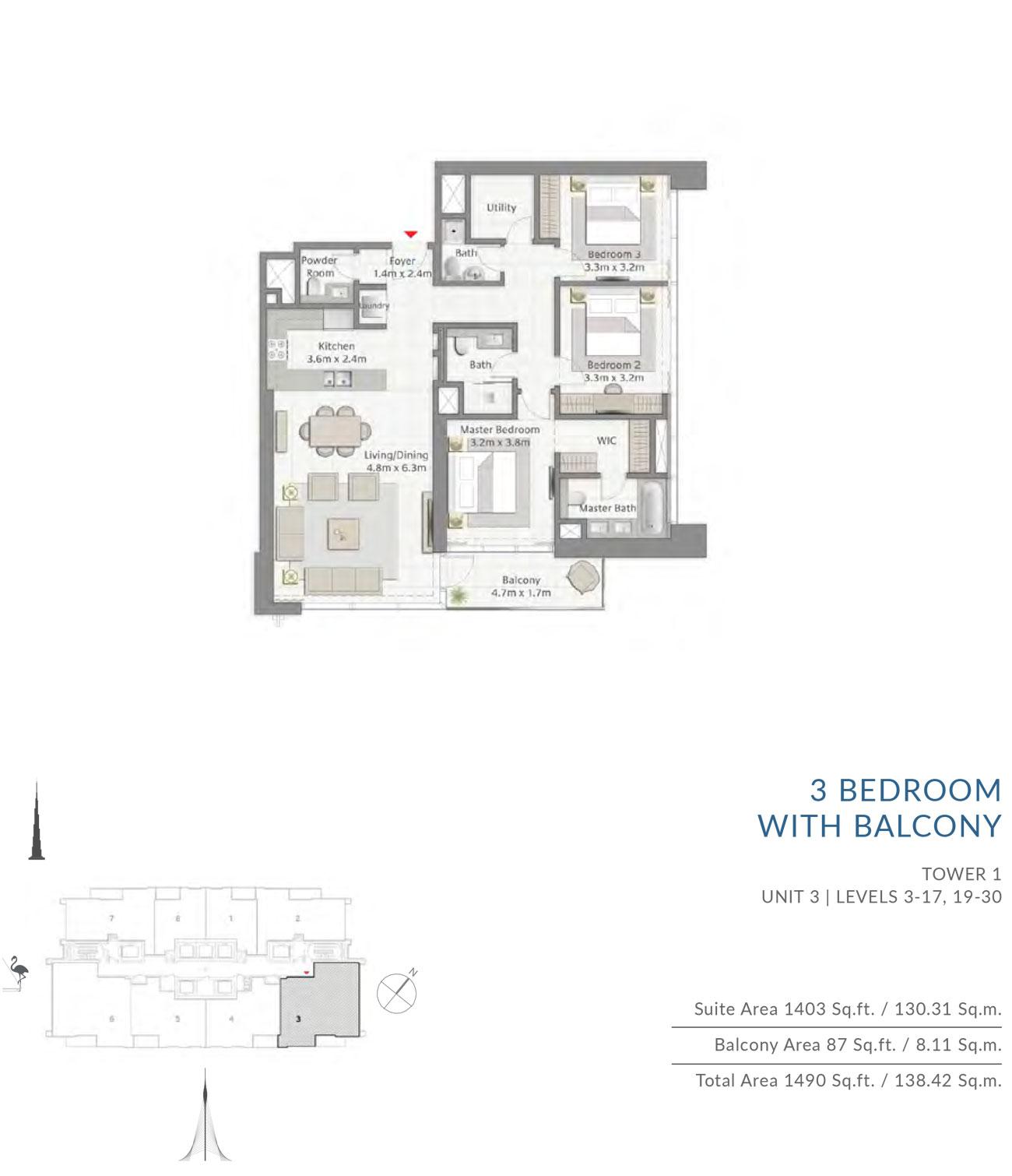 Floor-Plan-3BR T1 U3