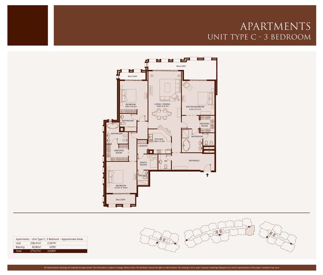 3 Bedroom,Unit-Type-C,Size-3006-Sq.ft