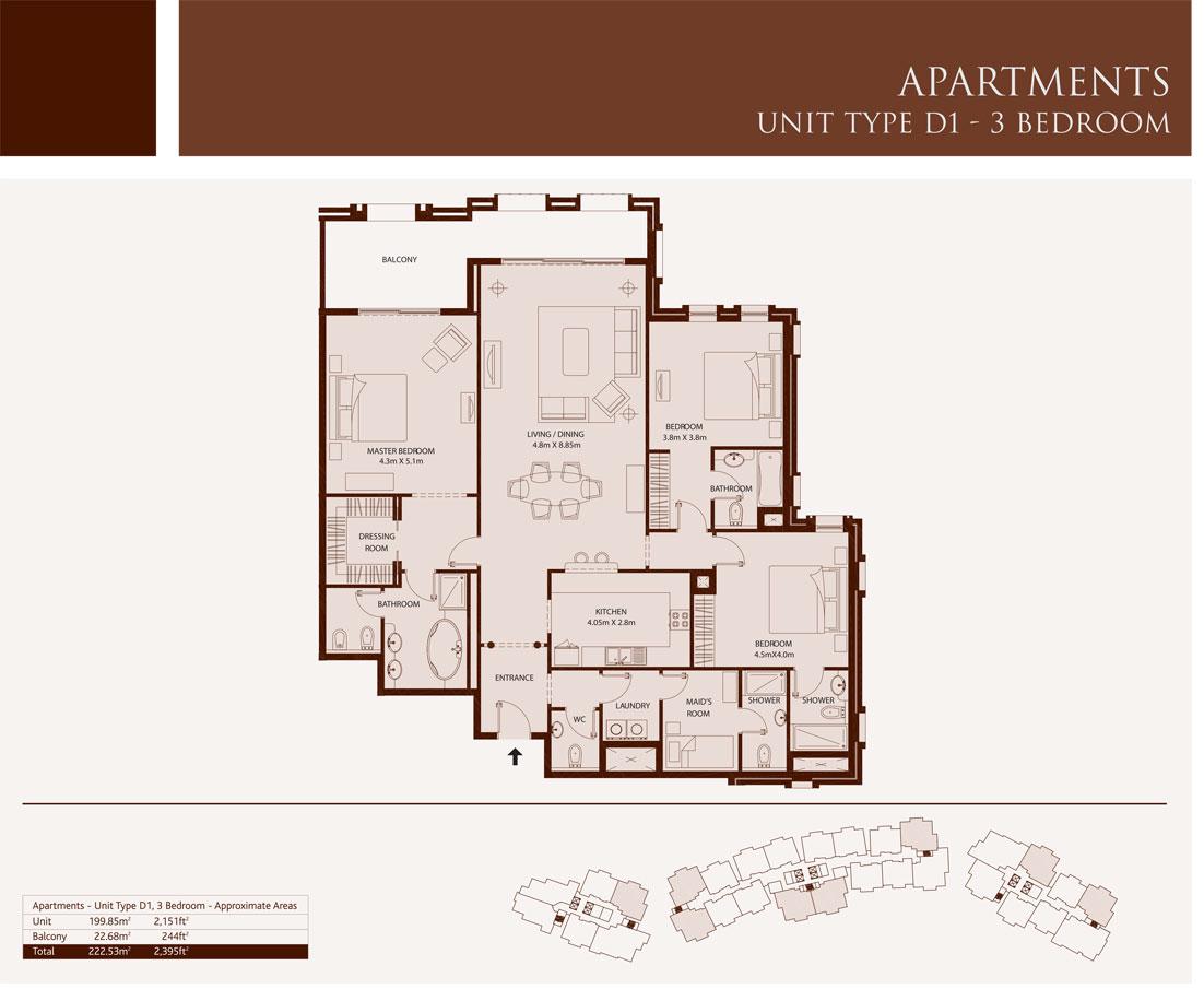 3 Bedroom,Unit-Type-D1,Size-2395-Sq.ft