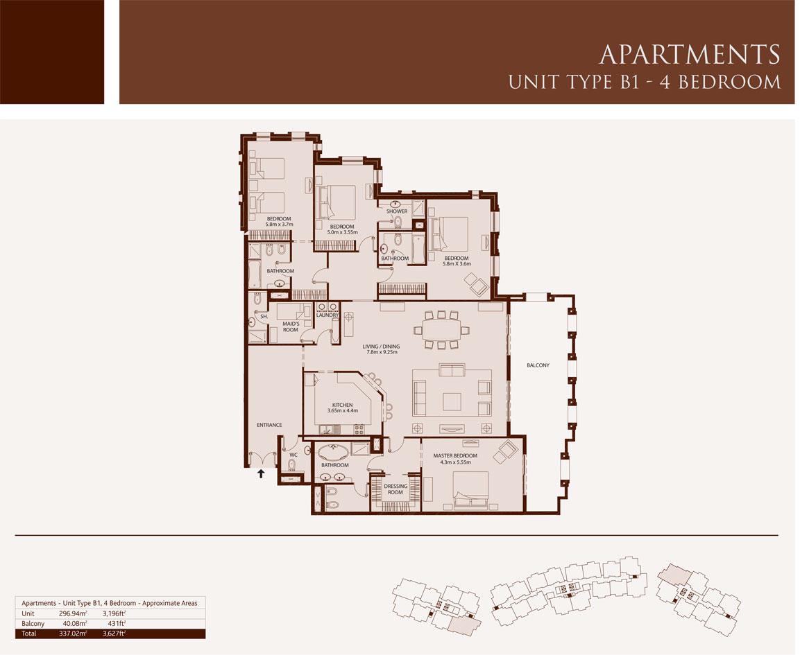 4 Bedroom,Unit-Type-B1,Size-3627-Sq.ft