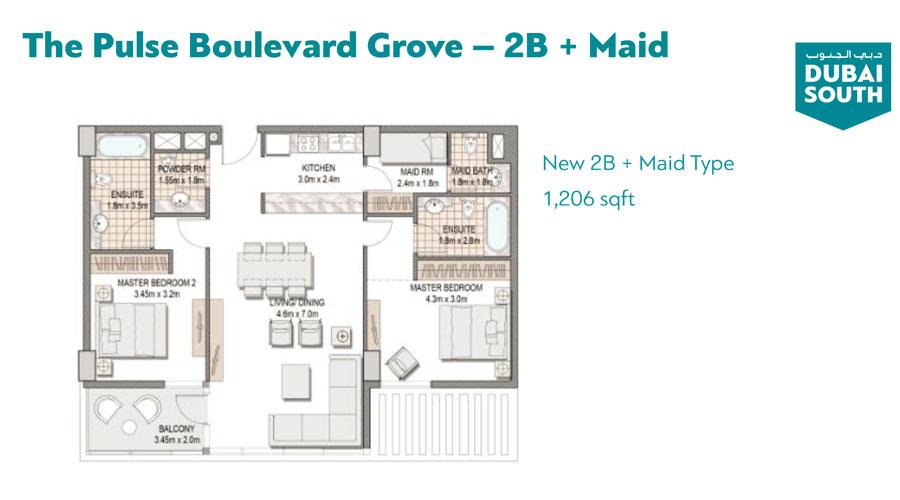 2 BR, Maid Room