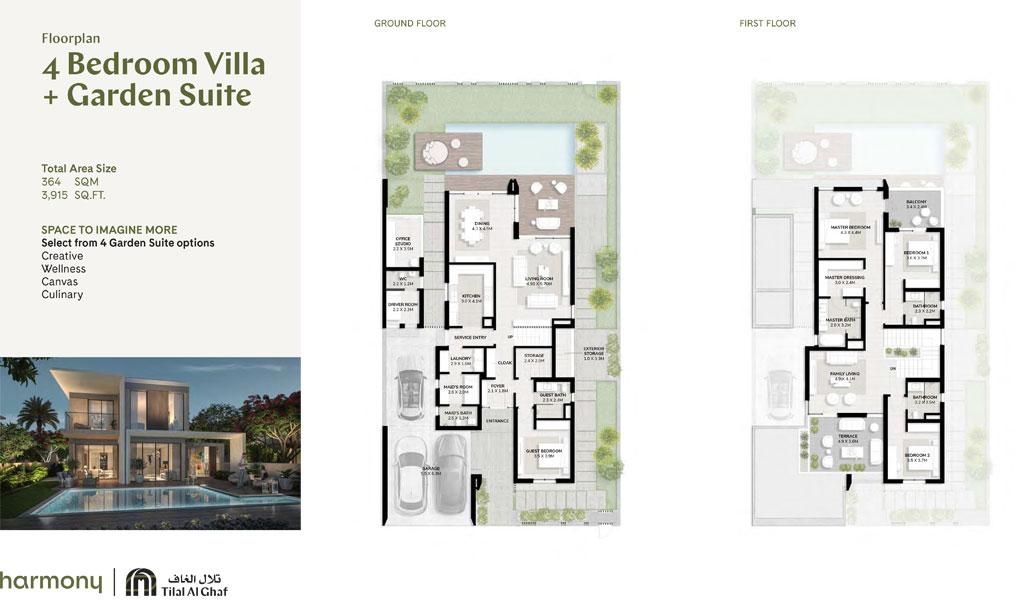 4 Bedroom Villa, Garden Suite, Size 3915.00 sq ft