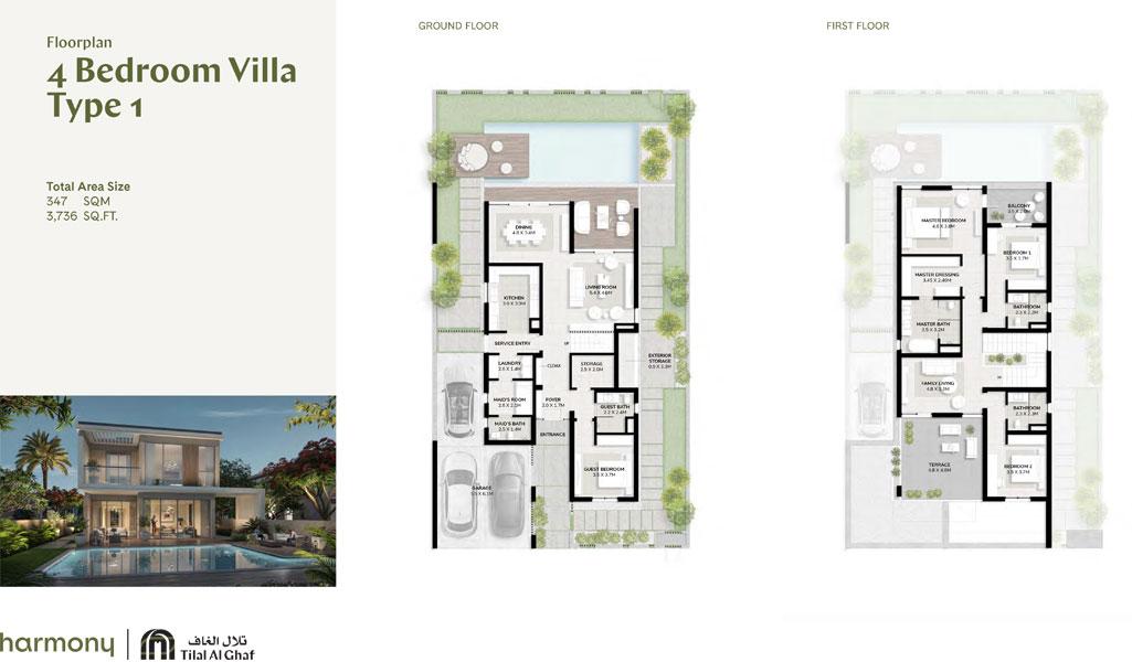4 Bedroom Villa, Type 1, Size 3736.00 sq ft