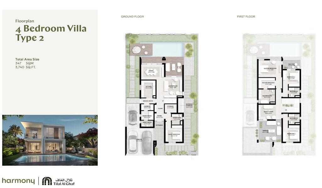 4 Bedroom Villa, Type 2, Size 3740.00 sq ft