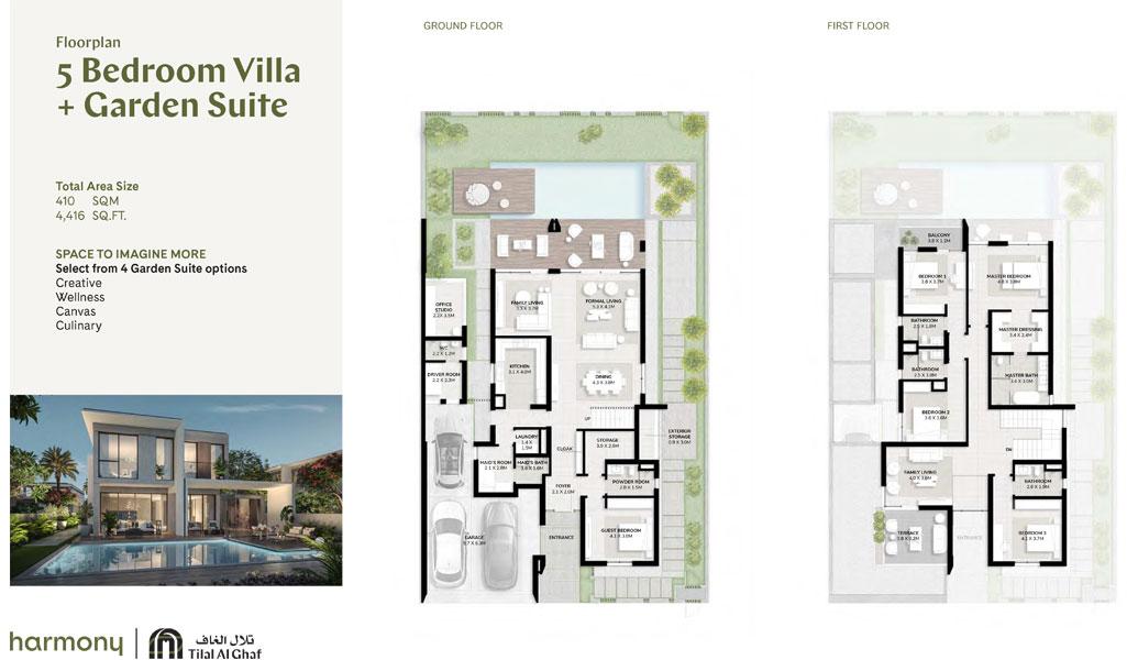 5 Bedroom Villa, Garden Suite, Size 4416.00 sq ft