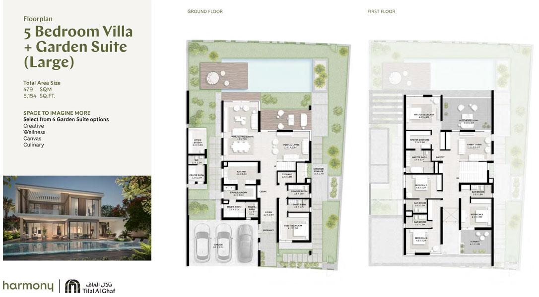 5 Bedroom, Garden Suite - Large Size 5154.00 sq ft