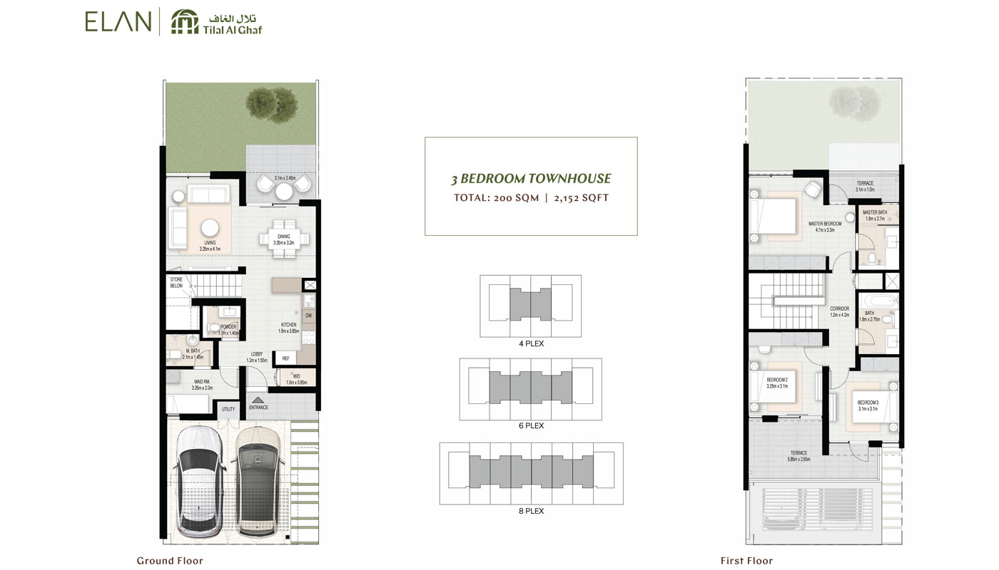 3 Bedroom Townhouse, Size 2152.00 Sq Ft
