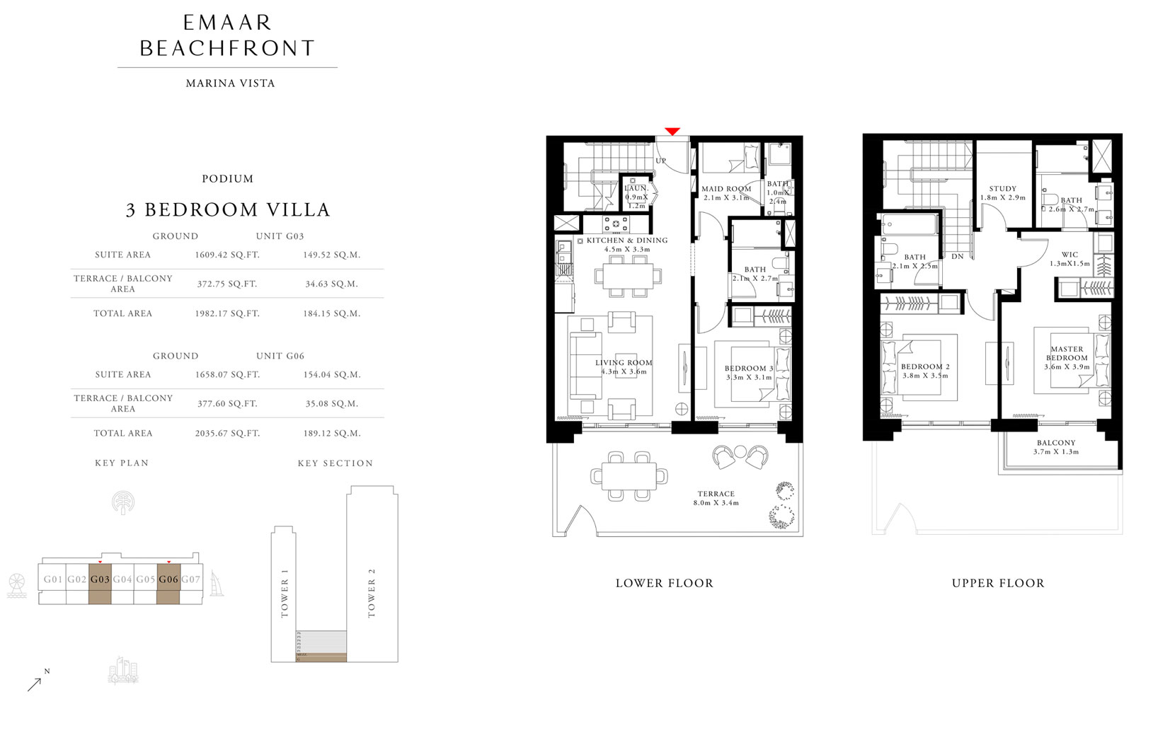 3 Bedroom Villa, Podium, Ground, Unit G03 & G06, Size 1982.17 & 2035.67 Sq Ft