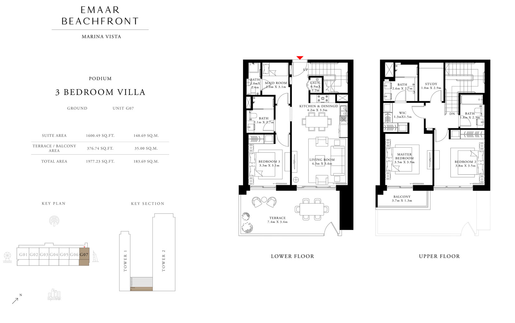 3 Bedroom Villa, Podium, Ground, Unit G 07, Size 1977.23 Sq Ft