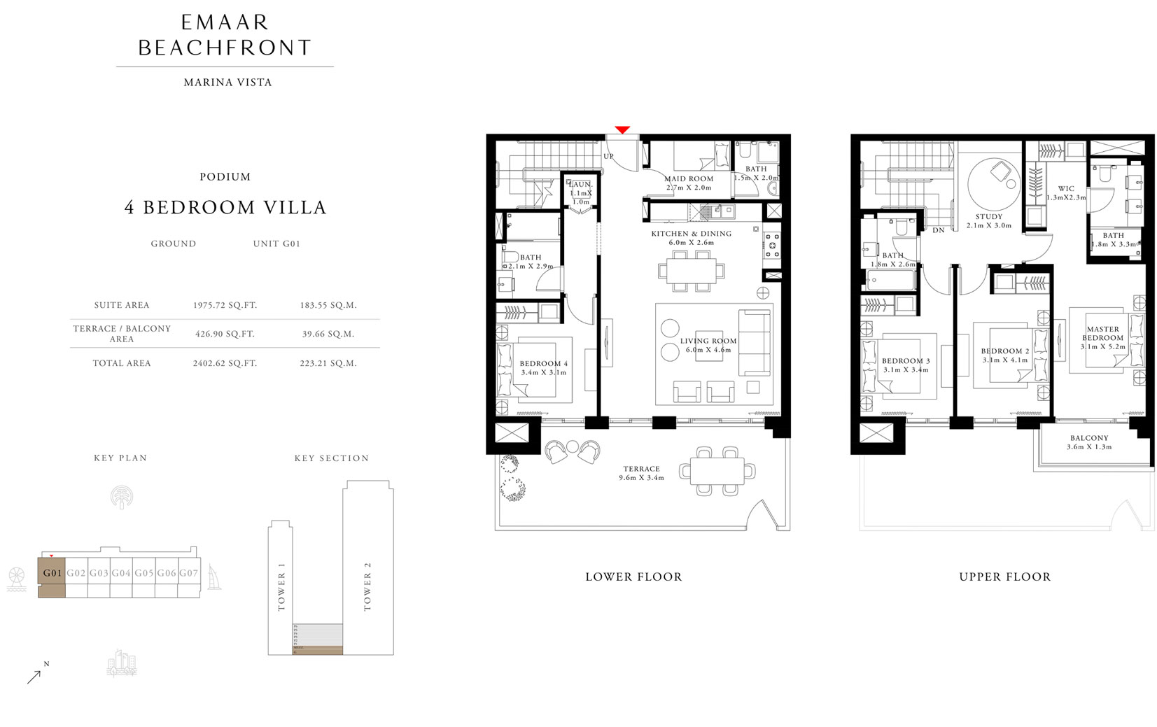 4 Bedroom Villa, Podium, Ground, Unit G01, Size 2402.62 Sq Ft