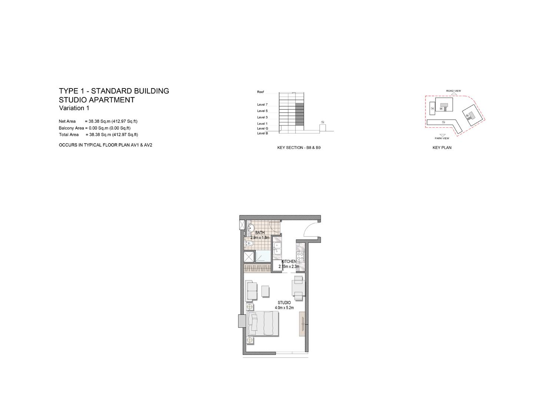 Studio Apartment, Type-1, Size-412.97 Sq.ft